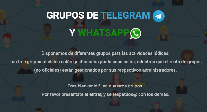 Grupos de Telegram y Whatsapp